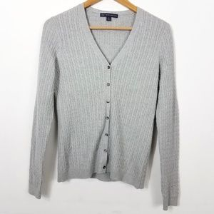 Brooks Brothers Gray Merino Wool Cable Cardigan